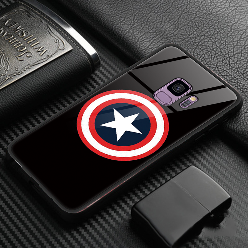 Image 3 - Captain America Shield Marvel Tempered Glass Cover For Samsung Galaxy S8 S9 A50 Plus Note8 Note9 A8 A7 2018 M10 M20 J4 Plus Case-in Fitted Cases from Cellphones & Telecommunications