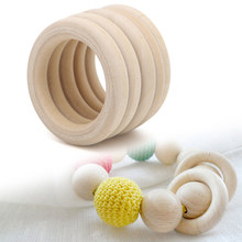 5pcs Wooden Beads Connectors Circles Rings Beads Unfinished Natural Wood Lead-Free Beads 15mm-65mm(China)