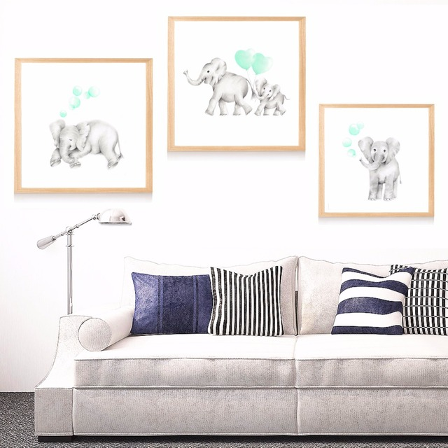 Baby Mummy Elephant Nursery Canvas Art Print Painting Poster Wall Pictures For Room Home Decorative Bedroom