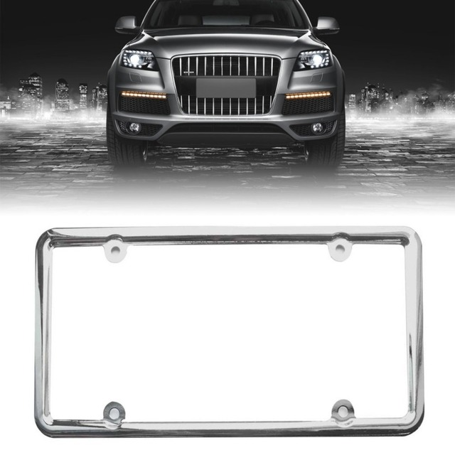 New License Plate Frame Chrome Stainless Steel Metal License Plate ...