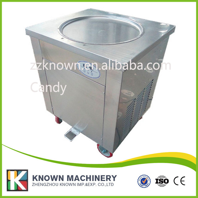 Fresh Keeping Refrigerator Under Topping Pans Commercial Flat Pan Fry Ice Cream Machine For