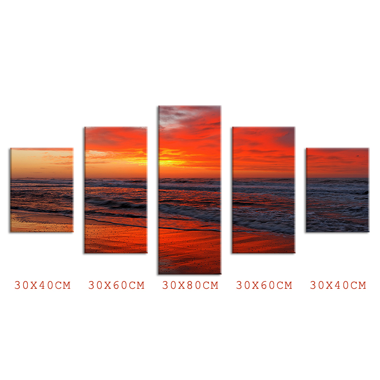 Hot Sells 5 Panels landscape hot evening peaceful beach Wall Art Picture home Decoration for bar living room printed Modern Art