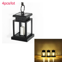 Led Solar Light Lamp Led Candle Lantern Patio Chandelier Hanging Garden Light With Clip Outdoor Lighting