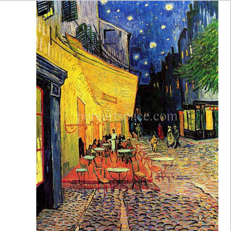 Hand painted Modern Abstract Oil Painting Reproductions Cafe Terrace at Night landscape home decoration wall art