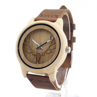 Fashion Deer Head Design Bamboo Wooden Quartz Watches Men Women Luxury Retro Genuine Leather Wristwatch ~ LXH