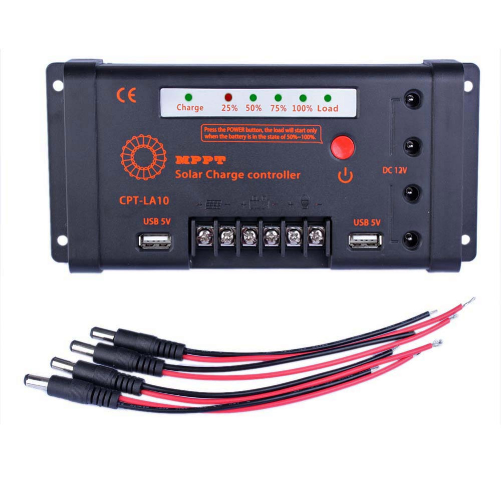 ФОТО 1x Solar charge controller 4x DC 12V Cable 10A 12V/24V MPPT Solar Panel Regulator Charge Controller 100V Input & DC USB