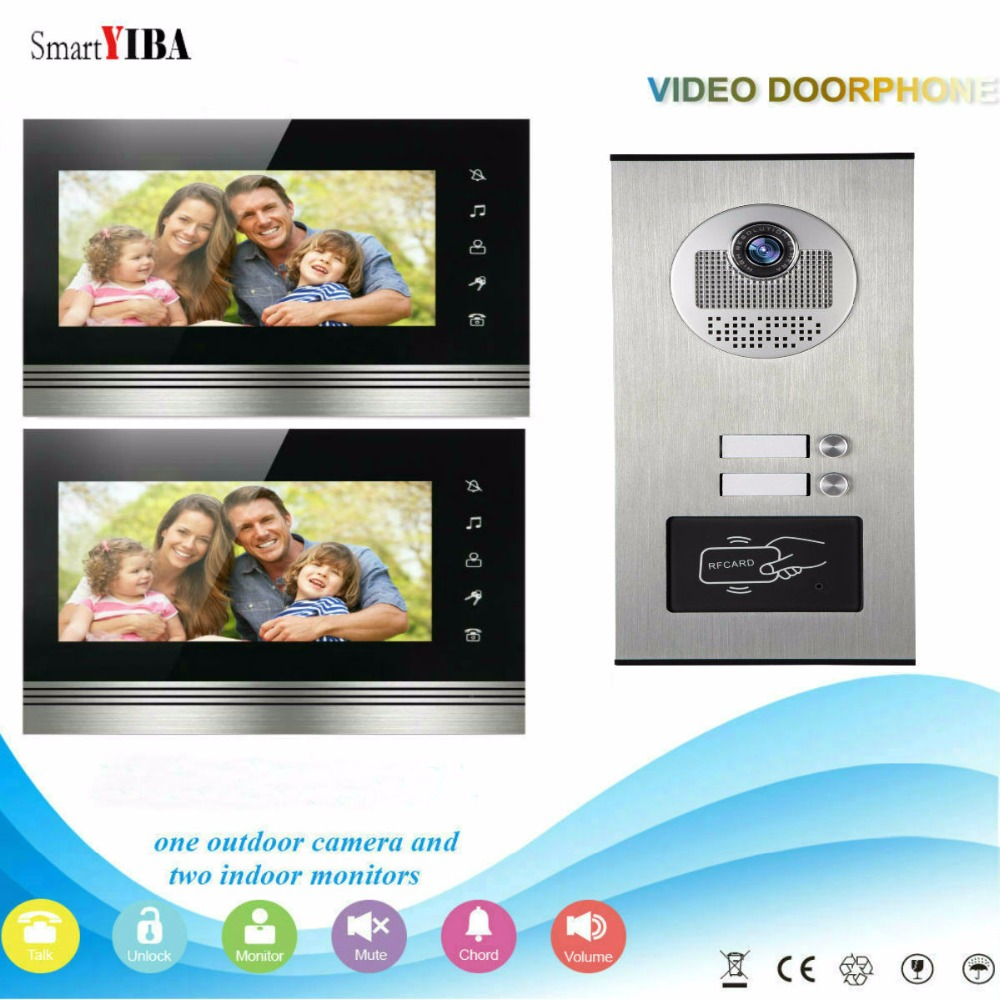 SmartYIBA Home Security 7Inch Monitor Video Door Phone Doorbell Intercom RFID Access Control Camera System For 2 Apartment