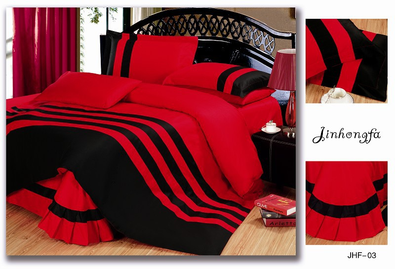 solid color 100 cotton bed linen bedding sets queen king 4pcs red and black stripe duvet cover bed set for hotel bedclothes