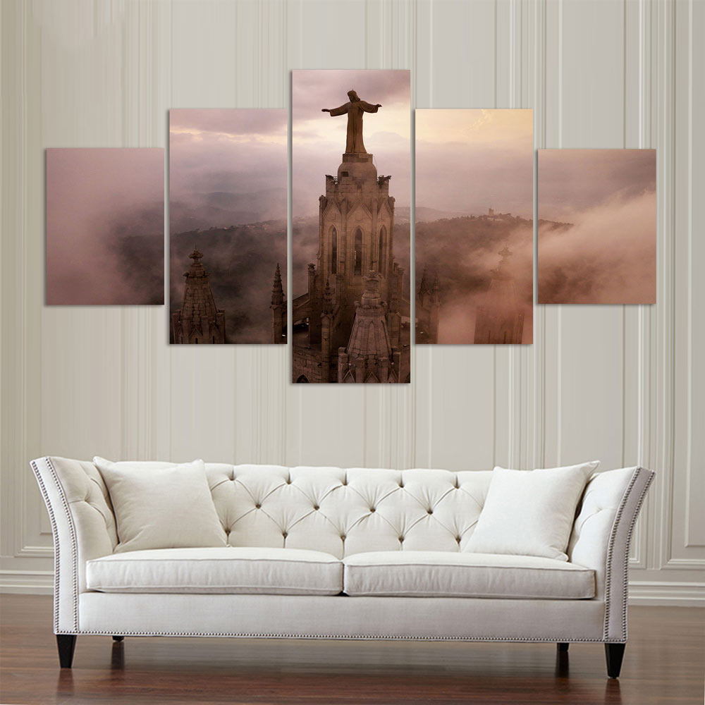 hd printed canvas posters frame home decor wall art pictures 5 pieces church jesus statue living