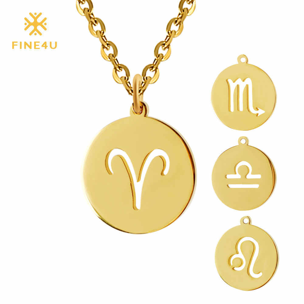 FINE4U 12 Zodiac Coin Pendant Necklace 316L Stainless Steel Choker Necklaces For Women 2019 Gold Collier Jewelry