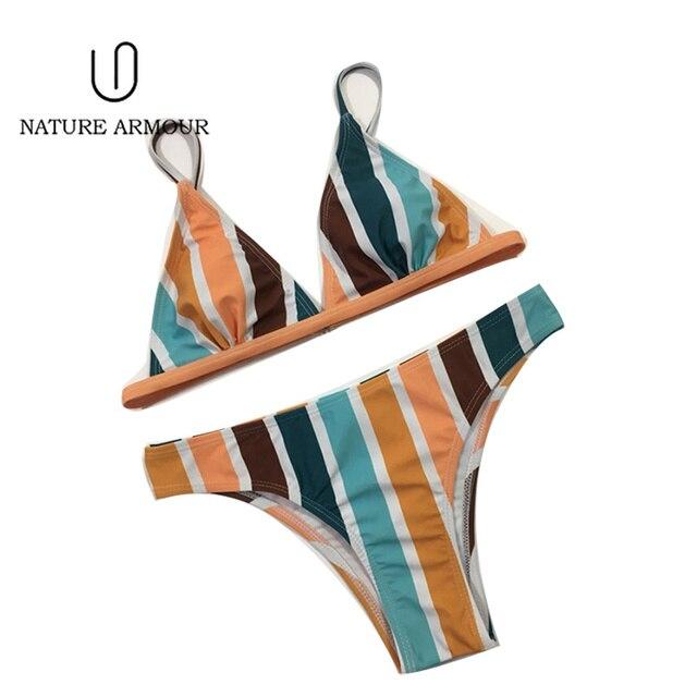NATURE ARMOUR bikini 2018 new stripe sexy swimsuit print swimwear beach swimming suit for women bikini push up swimwear women 1