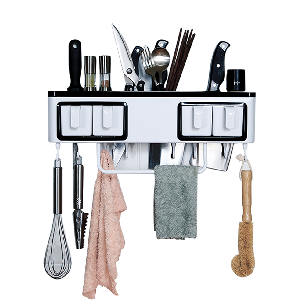 Kitchen multi-function rack spice rack knife holder punch-free wall-mounted seasoning box spice rack wx8021352