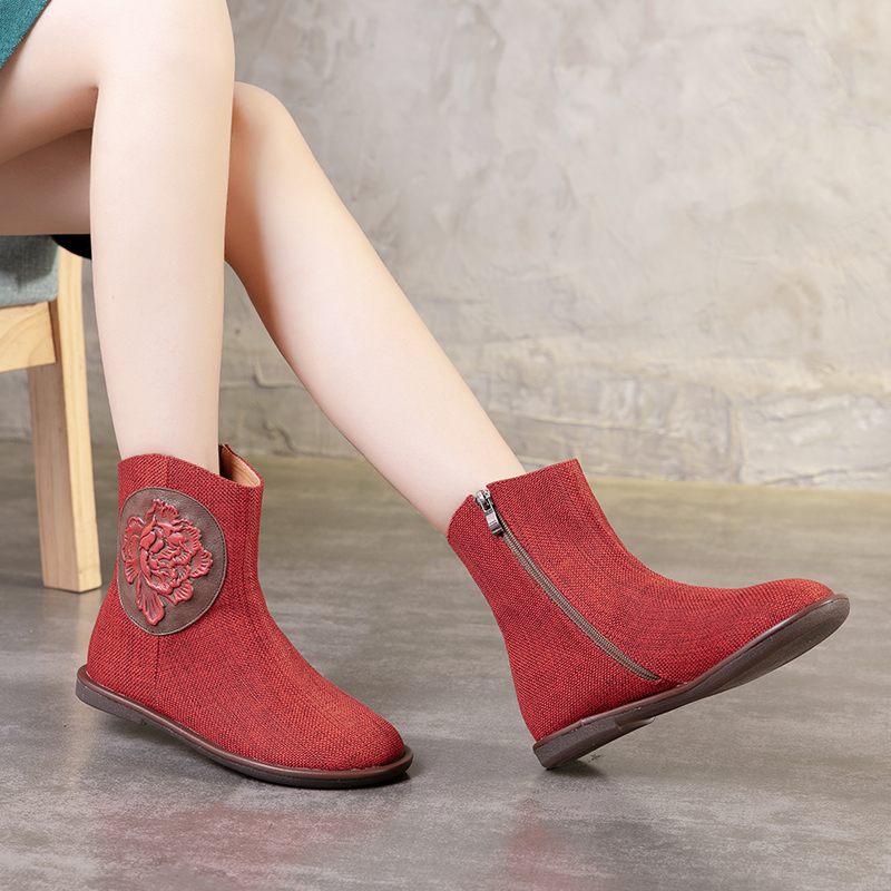Hemp Shoes Woman Latest Embossed Leather Flower Design Female Ankle Short Booties Handmade Luxury Lady Boots