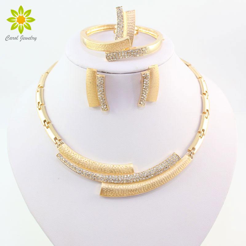 Mode bröllop brud Crystal Rhinestone smycken uppsättningar afrikanska pärlor Dubai guld färg uttalande smycken kostym