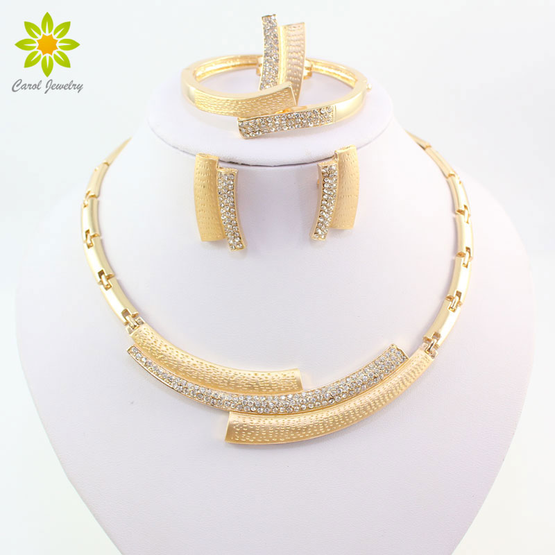Mode Bruiloft Bruids Kristal Strass Sieraden Sets Afrikaanse kralen Dubai Gouden kleur Statement Sieraden Kostuum