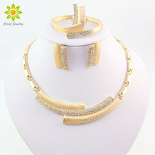 Fashion Wedding Bridal Crystal Rhinestone Jewelry Sets African Beads Dubai Gold Color Stat