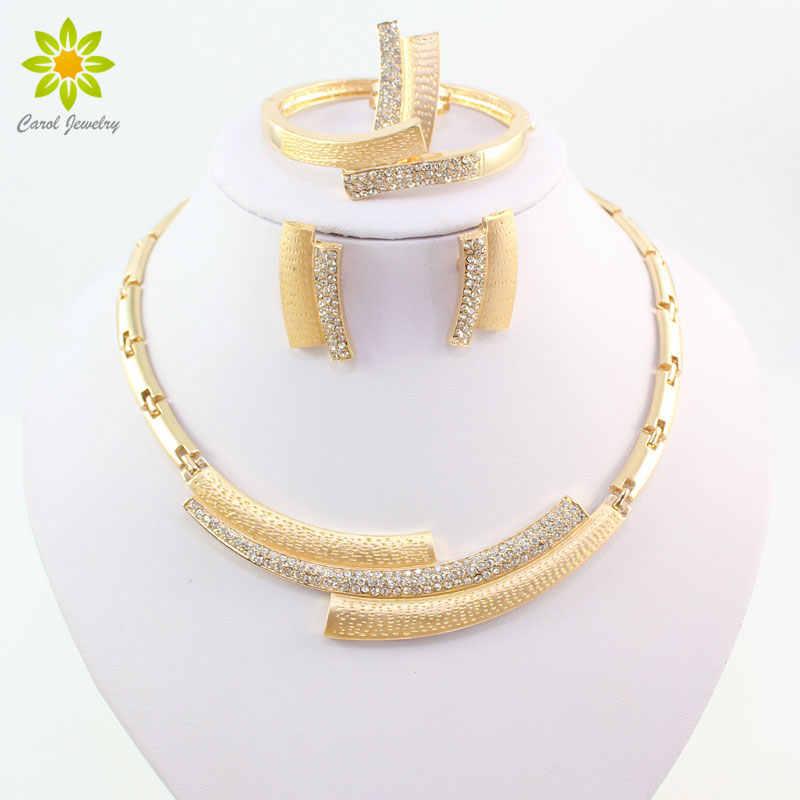 Moda casamento nupcial cristal strass conjuntos de jóias contas africanas dubai ouro cor da indicação jóias traje
