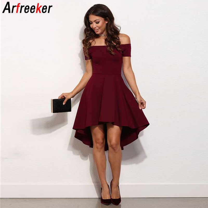 Arfreeker/сексуальное летнее платье 2018 года для женщин; короткий рукав-бабочка для девочек; цвет красный, белый, зеленый, синий; платья; вечерние платья; одежда; Новинка