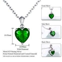 DOUBLE-R, серебро 925 пробы, изумрудное ожерелье, сапфир, подвеска, рубин, ювелирное изделие, сердце, ожерелья и подвески для женщин, серебро 925 про...