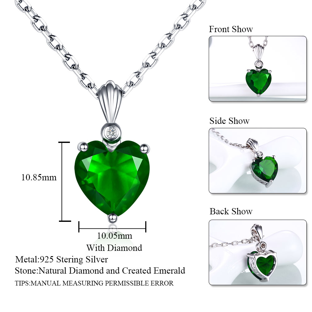 925 Sterling Silver Blue Simulated Sapphire Double Love Heart Pendant Necklace