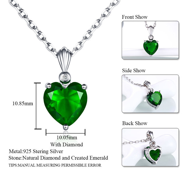 DOUBLE-R 925 Sterling Silver Emerald Necklace Sapphire Pendant Ruby jewelry hear