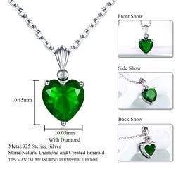 DOUBLE-R 925 prata esterlina esmeralda colar safira pingente rubi jóias coração colares & pingentes para mulher prata 925