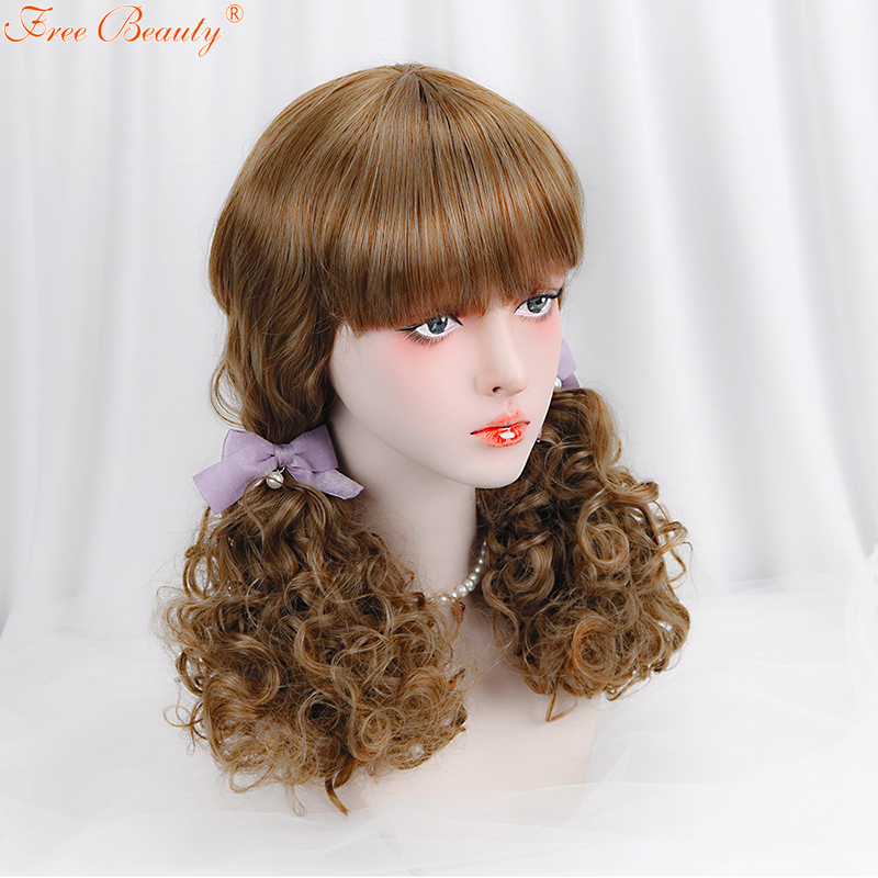 20 Blonde Lolita Wig with Bang Long Curly Synthetic Hair Blunt Hallowen Party Wigs for W ...