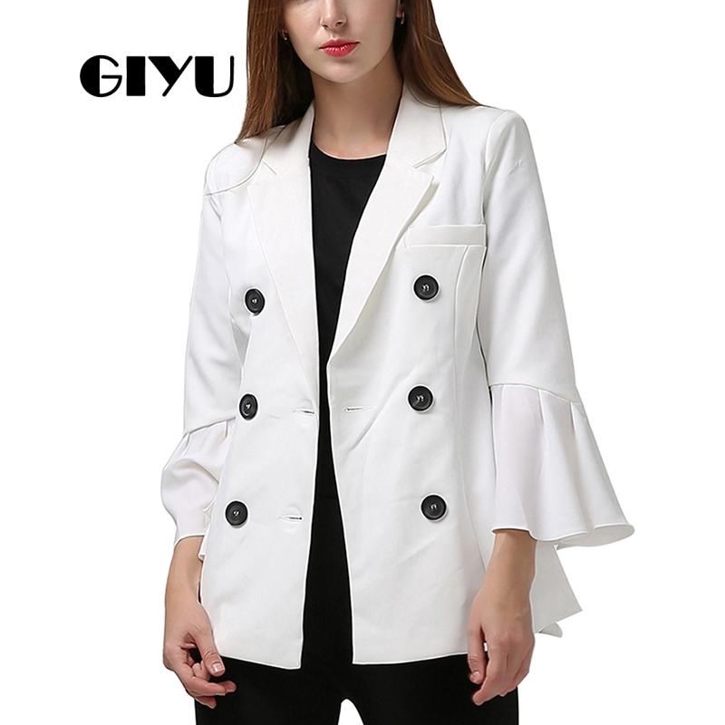 GIYU Autumn Women Flare Sleeve Blazer White Black Jackets Pockets Office Lady Buttons Casual Camiseta Mujer