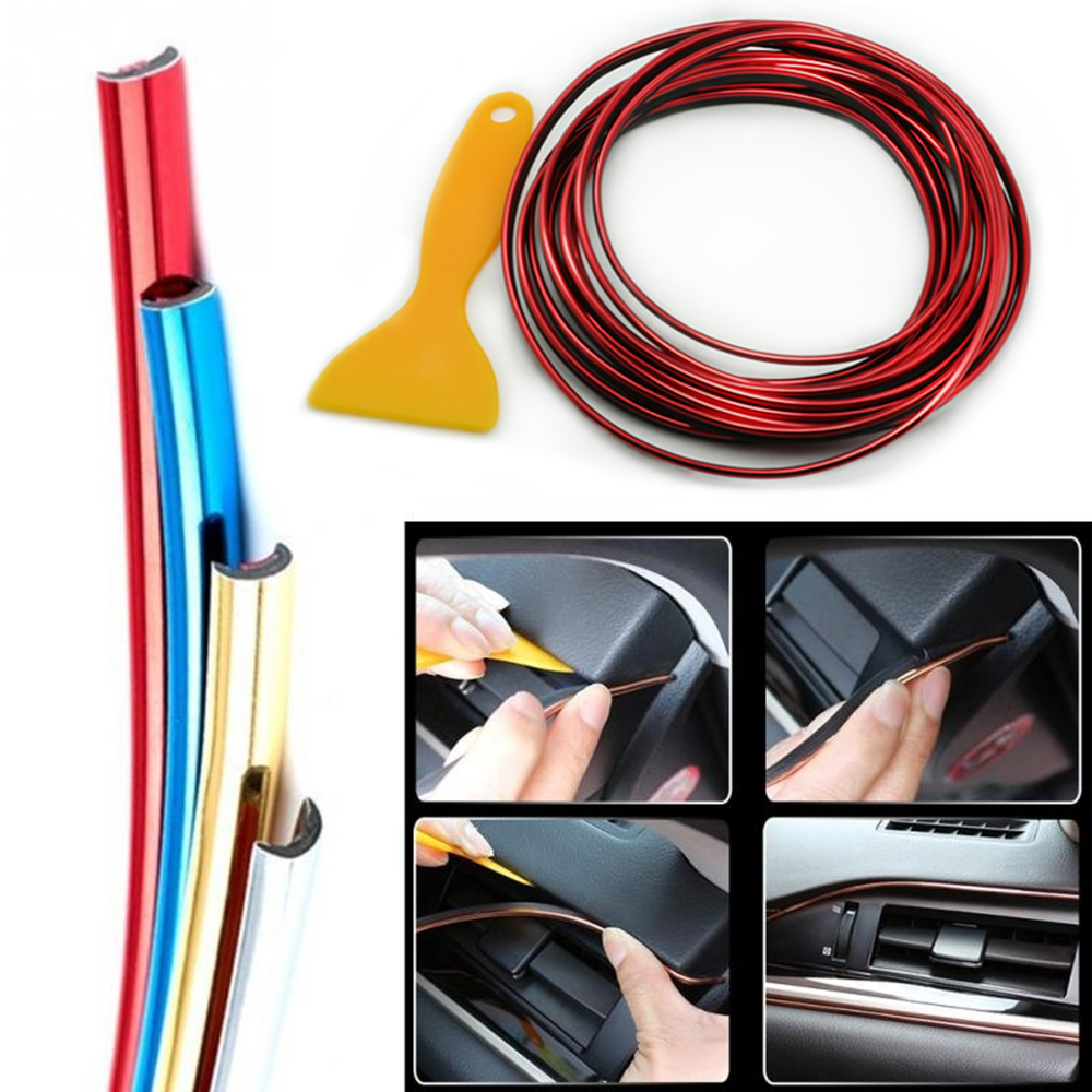 Image 2 - 5M Car Styling Interior Exterior Decoration Strips Moulding Trim Dashboard Door Edge Universal For Cars Auto Accessories bmw e90-in Interior Mouldings from Automobiles & Motorcycles