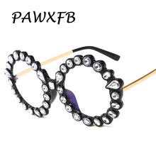 PAWXFB 2019 New Oversized Diamond Round glasses Women Men Optical Clear lens Black Frames Eyewear Female