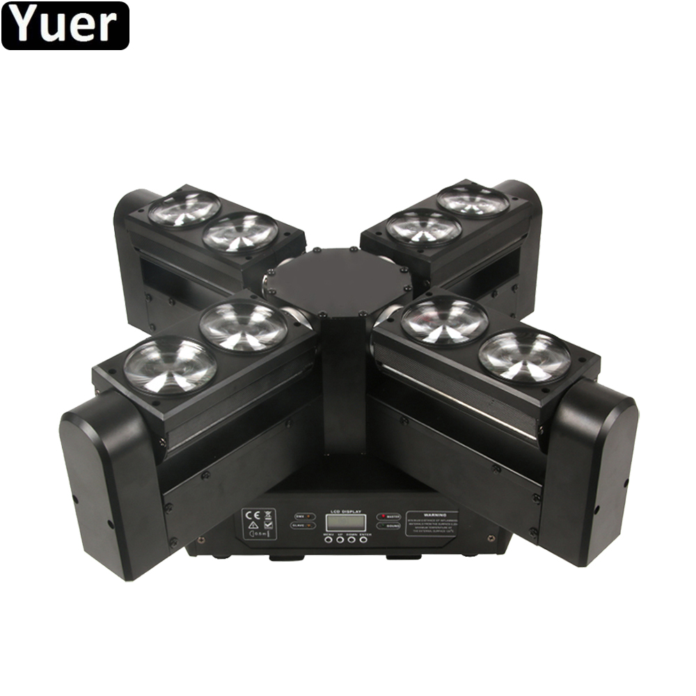 2019 NEW LED Beam Moving Head Light 8x12W RGBW 4in1 LEDs 18/31/47 Channels DMX Controller Stage DJ Lighting For Party Music Disc