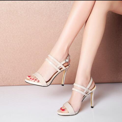 ФОТО Elegant woman sandals  concise design summer sandals  gladiator heel high heels black  blue and apricot color for your selection