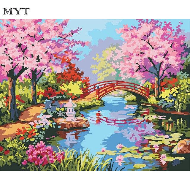 Bilder für kinderzimmer auf leinwand selber malen mädchen  Romantische landschaft DIY malen nach zahlen kits acrylmalerei auf ...