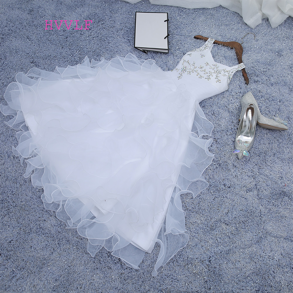 2019 สาวประกวดชุดบอลชุด Halte สีขาวฟ้า Organza ลูกปัดตูทารกน้อยชุดสาวดอกไม้สำหรับงานแต่งงาน