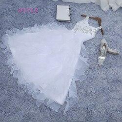 2019 vestidos de desfile para niñas vestido de baile Halte blanco azul real Organza con cuentas tutú para niñas pequeñas flores para bodas