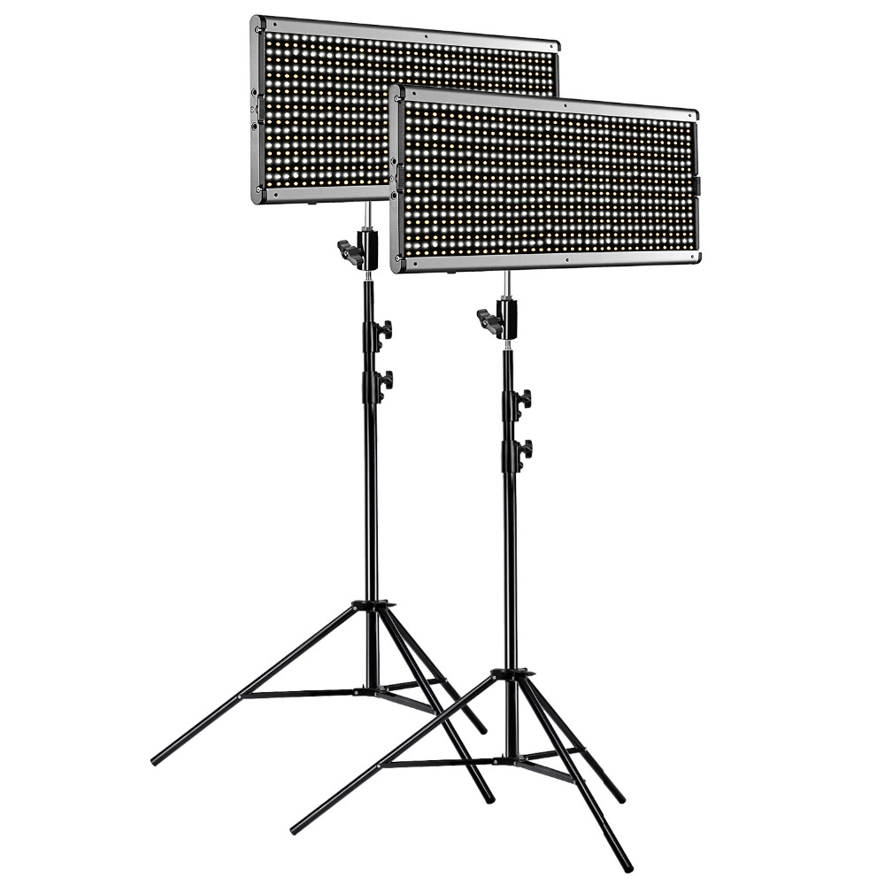 Neewer 2-Pack Dimmable Bicolor 960 LED Video Light and Stand Lighting Kit for Studio YouTube Outdoor Video Photography LED Panel image