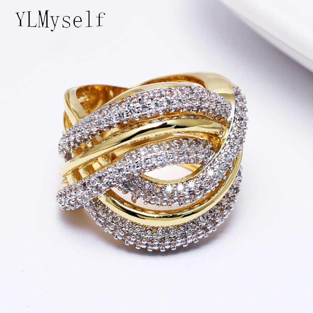 Large Ring Bands Trendy cross lines design Women fashion Jewelry Aneis Anillos Anel Sparkly crystal rings