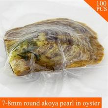 Venta al por mayor AAA 100 unids 7-8mm perla Akoya ronda en ostras ostra perlera