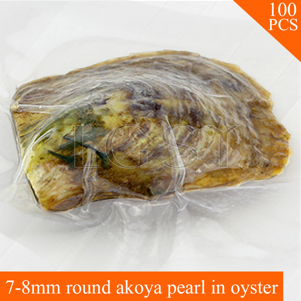 release date: d5fc3 e63c8 wholesale AAA 100pcs 7-8mm round Akoya pearl in oysters saltwater pearl  oyster
