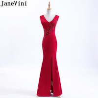 JaneVini Red Split Mermaid Bridesmaid Dresses Long 2018 Tight Fitted V Neck Pearls Ladies Dresses For Wedding Party Formal Gowns