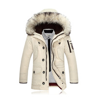 new 2018 men warm coats Upset long pure color in the men's down jacket