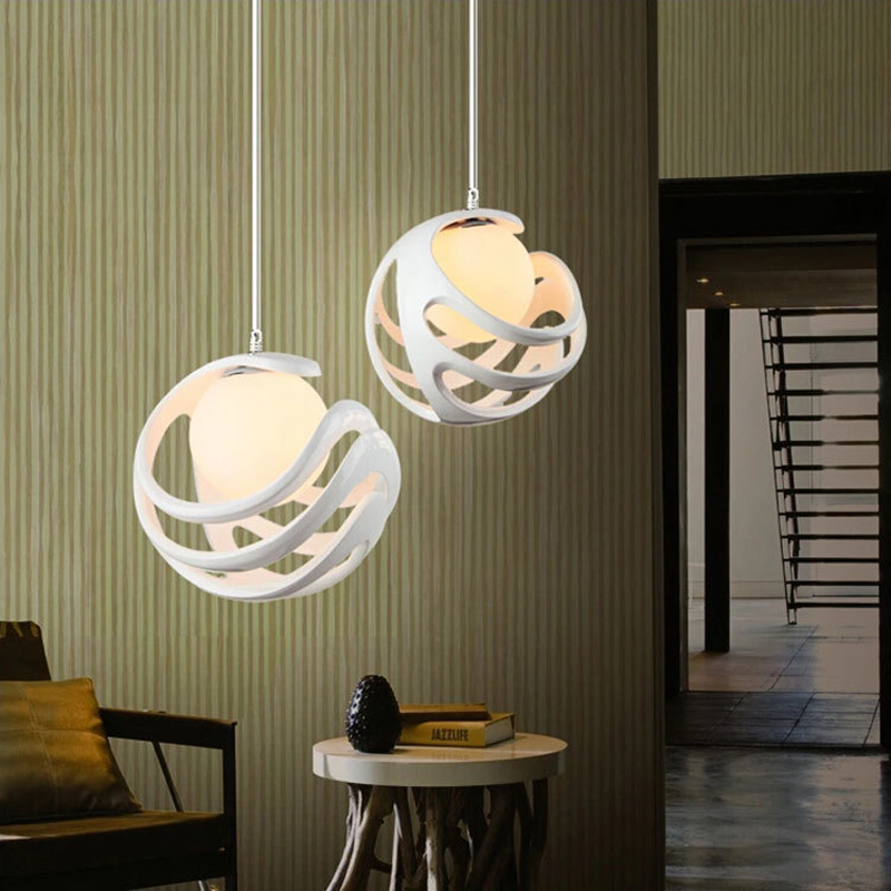 Modern resin pendant lamps desserts clothing coffee bars restaurants balcony hollow works red and white pendant light ZA81010