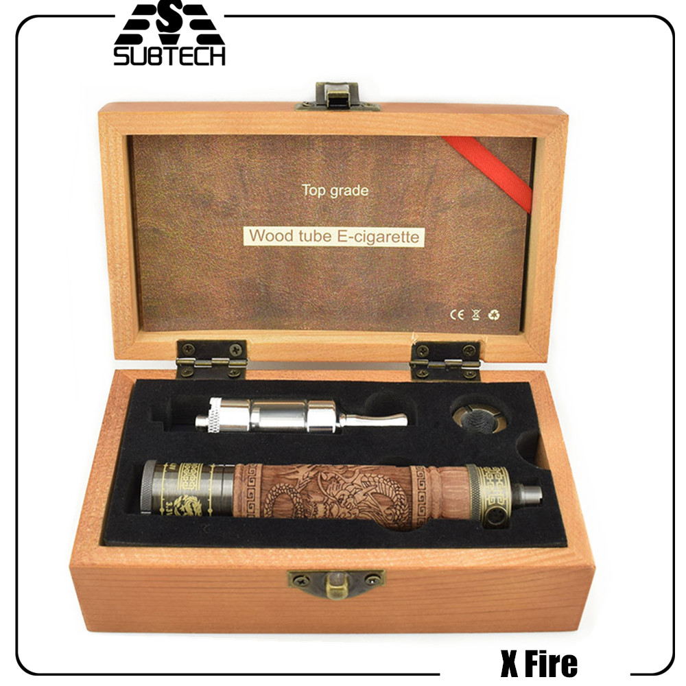 ГОРЯЧАЯ X/E огонь электронная сигарета 2 комплект E дрова трубы переменного напряжения электронная сигарета батареи распылитель деревянный 2...