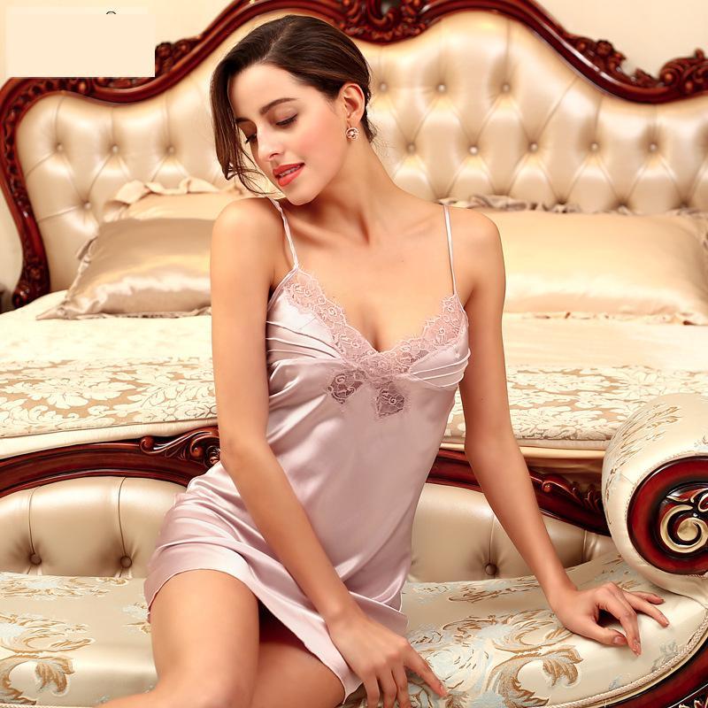 Ladies Sexy Silk Satin Lace Pyjama Sleeveless Pijama Set V-neck Sleepwear Summer Home Wear Sleep Wear For Women
