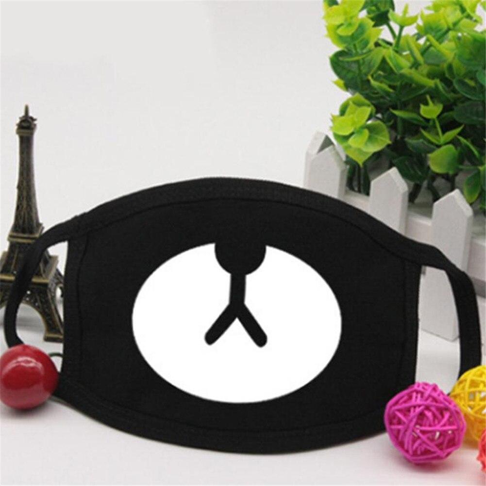 1pcs Unisex Mask Cute Bear Printed Fashion Face Mask Cartoon Anti-Dust Respirator Cotton Reusable Funny Mask Black Color
