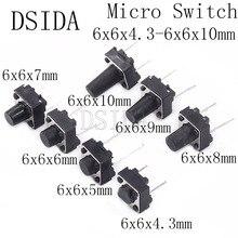 20 шт. среднего 2pin 6x6x4,3/5/6/7/8/9/10 мм переключатель тактильные кнопки переключатели 6x6x4,3 мм 6x6x5 мм 6x6x6 мм 6x6x7 мм 6x6x8 мм 6x6x9 мм