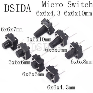 20pcs Middle 2pin 6x6x4.3/5/6/7/8/9/10 mm Switch Tactile Push Button Switches 6x6x4.3mm 6x6x5mm 6x6x6mm 6x6x7mm 6x6x8mm 6x6x9mm(China)