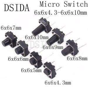 20pcs Middle 2pin 6x6x4.3/5/6/7/8/9/10 mm Switch Tactile Push Button Switches 6x6x4.3mm 6x6x5mm 6x6x6mm 6x6x7mm 6x6x8mm 6x6x9mm(China)
