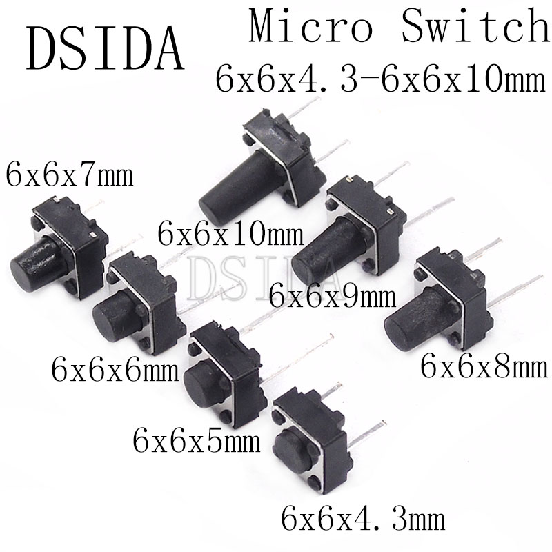 DTST 4 pin momentary push button microswitch 6 x 3 x 10 mm