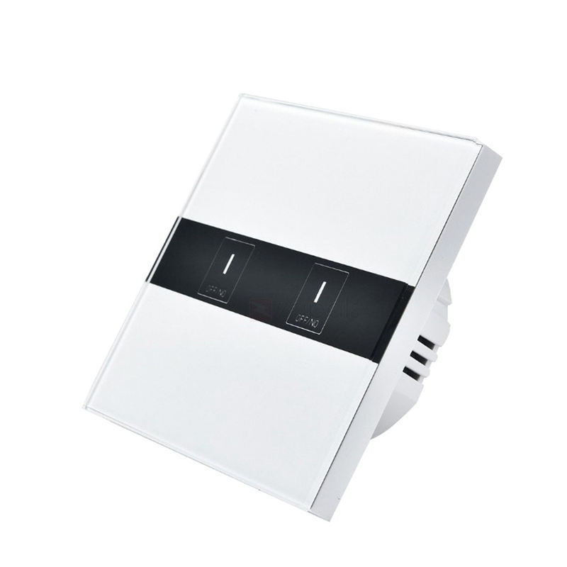 Smart Switch 2 Gang Wireless Remote Control Light Timer Switches Crystal Glass Panel Switch App Control